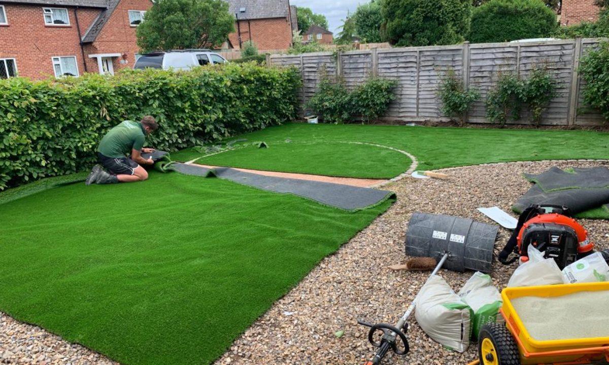 front garden artificial grass installation process