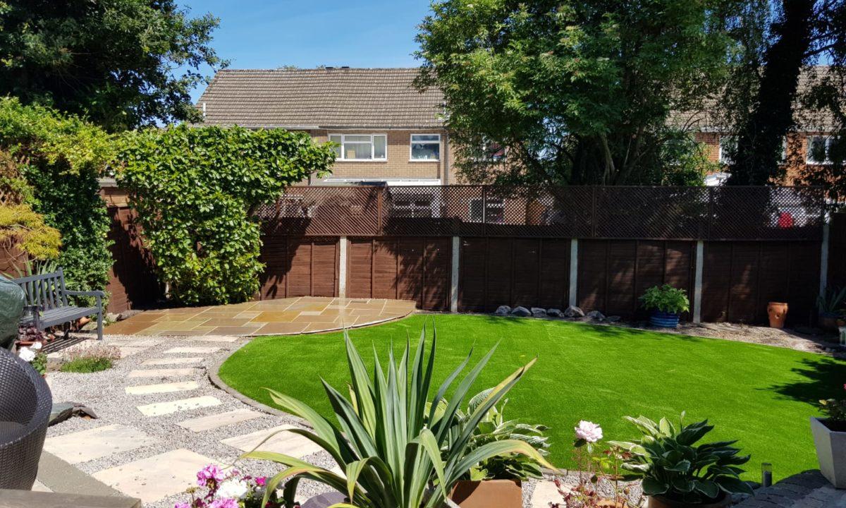 garden after artificial grass installation