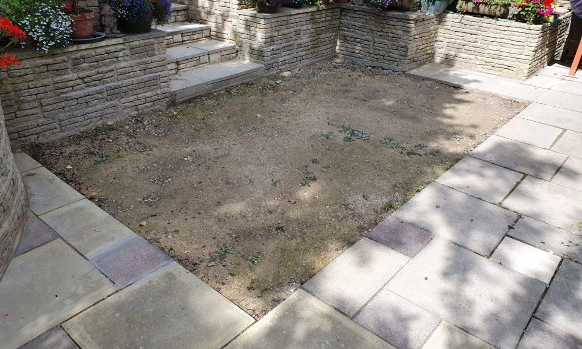 garden before artificial glass installation