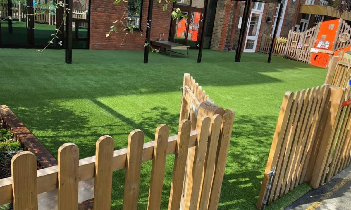 Commercial artificial grass at primary school