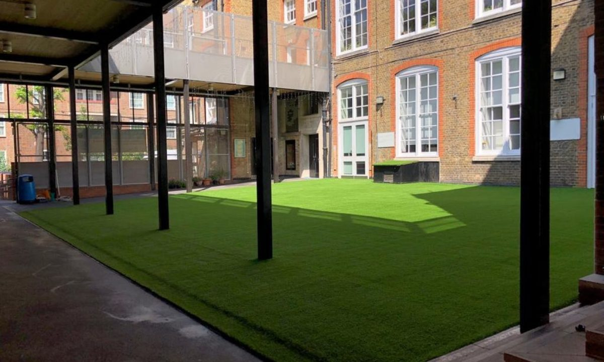 Artificial grass play space at primary school