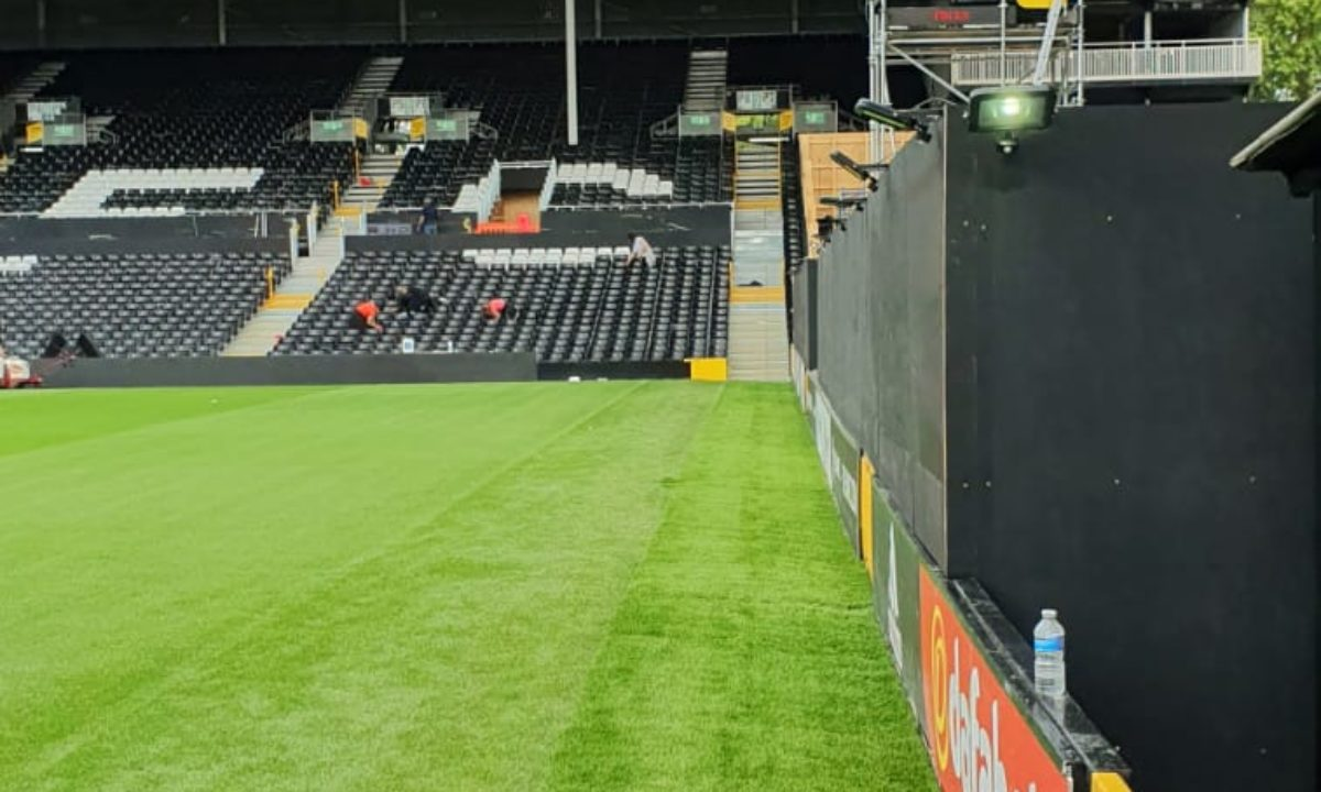Fulham pitch after shot of artificial grass installation