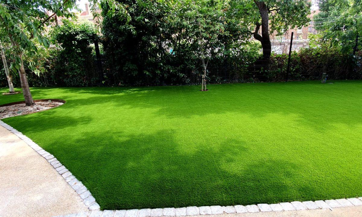 Commercial artificial grass installation at school